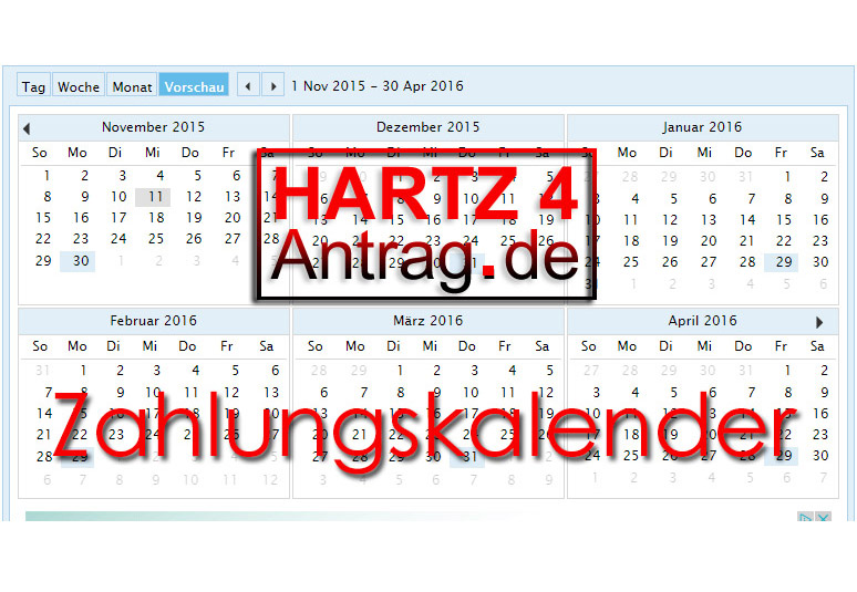 Hartz 4 Zahlungskalender lender - Auszahlungstermine für das ALG 2
